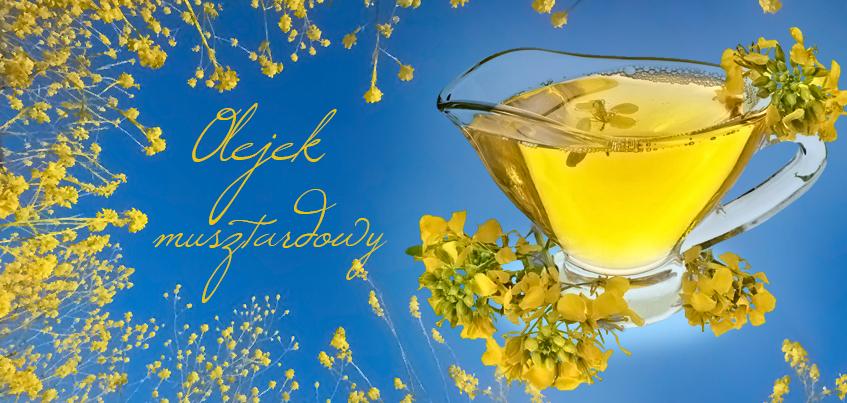kwiaty gorczycy wzrastające w stronę nieba i olej gorczycowy / musztardowy w szklanym naczyniu