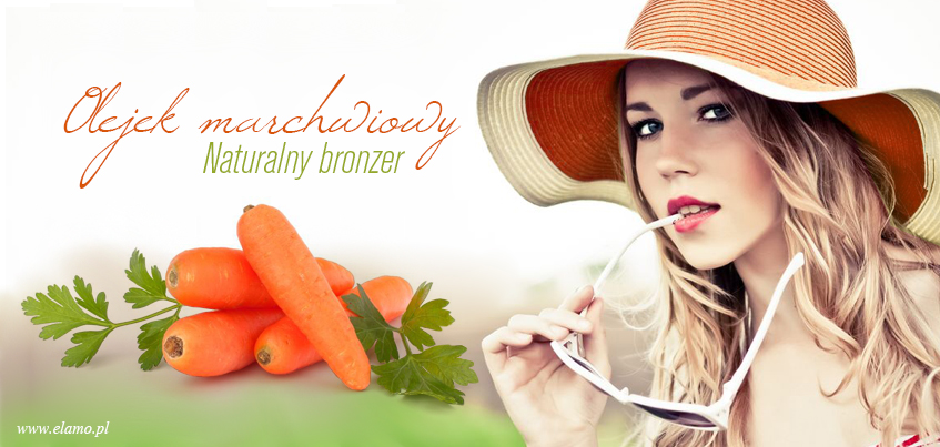 piekne dordne marchewki na  macerat marchwiowy z którego powstaje olej marchwiowy obok kobieta w pomarańczowym kapeluszu zastanawiajaca się nad naturalnym sposobem nad sposobem na piękna opaleniznę