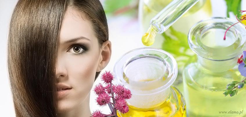 Olejek rycynowy w szklanych butelkach, pipety, rącznik pospolity - naturalne organiczne kosmetyki