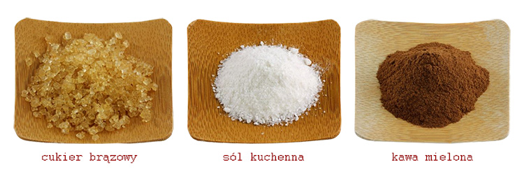 cukier brązowy, sól kuchenna i kawa mielona do peelingu