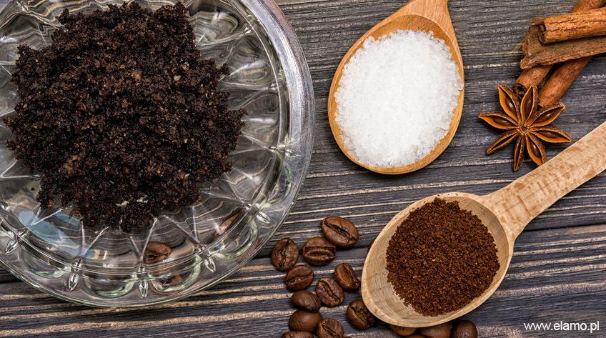 Peeling cukrowy z oliwą kawą mieloną i cynamonem