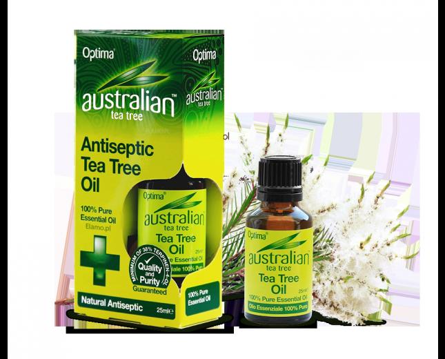 olejek z drzewa herbacianego Australian Tea Tree. W tle kwitnąca gałązka drzewa Melaleuca Alternifolia rosnące na północnym wybrzeżu Australii