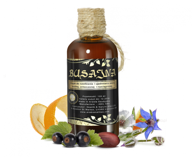 olejek busajna - wieloskładnikowy olej z nasion porzeczki, migdałów, kamelii olejodajnej, jojoba, z pestek winogron