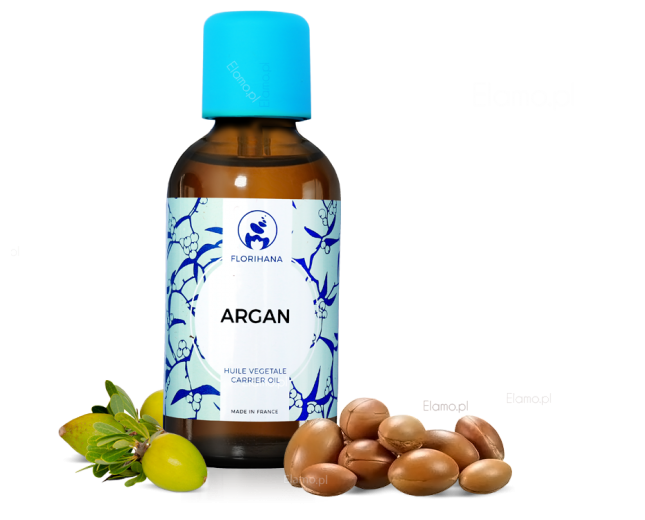 olej arganowy kosmetyczny rozsypane orzechy z drzewa arganowego