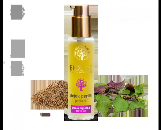 olej perilla z pachnotki w szklanej butelce z dozownikiem airless, nasiona i gałązka Perilla frutescens