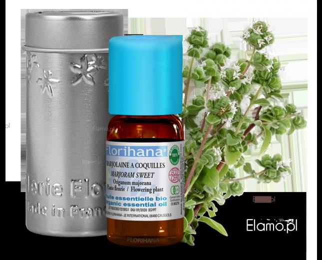 olejek majerankowy z kwitnacych wierzchołków majeranku ogrodowego zwanego również lebiotką majerankiem z organicznych upraw z Egiptu - FLORIHANA
