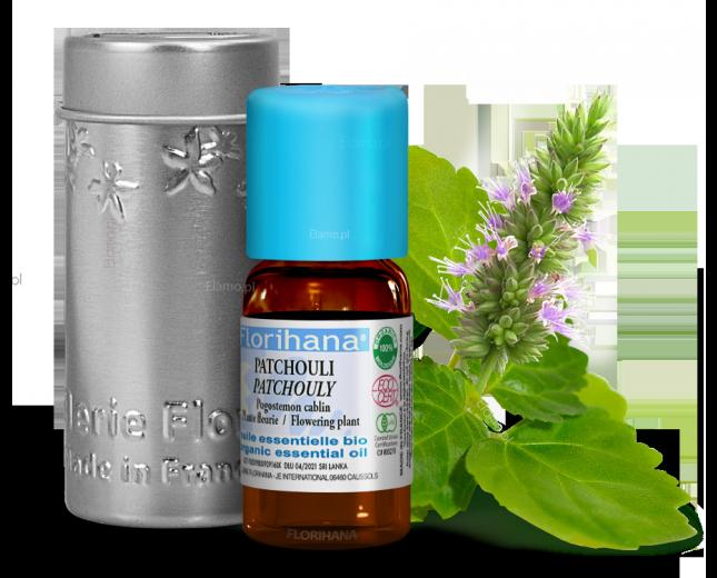 olejek paczulowy organiczny Florihana z kwiatostanem Pogostemon Cablin