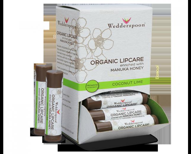 organiczna pomadka z miodem manuka Wedderspoon o smaku kokos, limonka