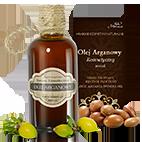 buteleczka oleju arganowego ECOCERT z rozsypanymi orzechami arganii żelaznej
